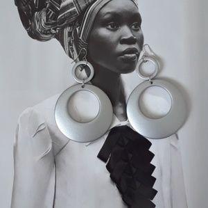 Jewelry - Circular Grey Hoop Earrings